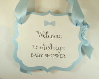 Bow-Tie Baby Boy Theme Shower Welcome Sign for your Party Entry Way to Greet Your Guests as they Arrive Baby Boy Shower Decor
