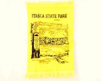 Vintage 70s Itasca State Park Minnesota Towel Retro Souvenir