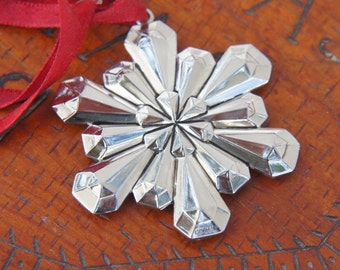 Vintage 70s-80s Gorham Silverplated Snowflake Christmas Ornament Holiday Decor