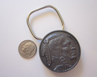 vintage 1918 Indian Head nickel key ring - plastic key ring with advertising - coin showring - replica plastic coin