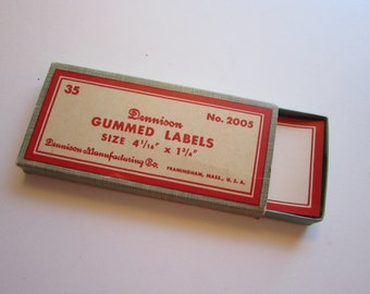 35 vintage DENNISON labels - self gummed - red and white - 4-4/16 x 1-3/4 inches - No 2005 - full box