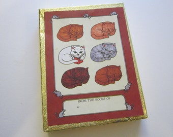 48 vintage bookplates - CAT book plates - partial box - Antioch Book Plate Company bookplates