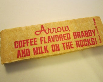 vintage advertising SPONGE - ARROW coffee flavored BRANDY - Arrow cordials, circa 1970s - printed in France