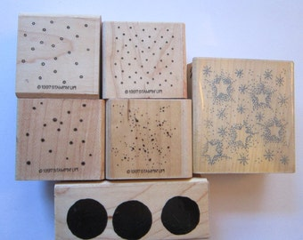 6 rubber stamps - polka dots, spatter, stars, solid circles, dots - texture stamps, background stamps - used