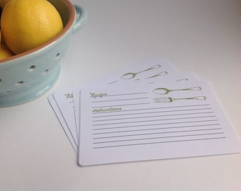 Hand Stamped Recipe Card Sets- Vintage Fork and Spoon