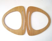 Vintage Wooden Purse Handles - DIY Macrame Supply - Pair of Carpet Bag Handles - Wood Bag Handles