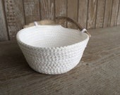 Nautical Entryway Storage Basket - Nightstand Organizer - Key Holder Beach Decor - White Rope Basket