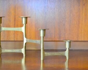 vintage modernist brass folding candle stick holder