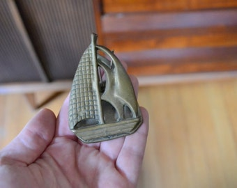 vintage brass sailboat mail clip