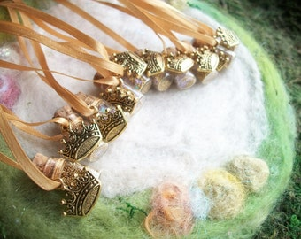 Fairy Queen Party Favors Gold Crown Fairy Star Gnome, Pixie Party, Magical Gold Sparkle Birthday Necklace
