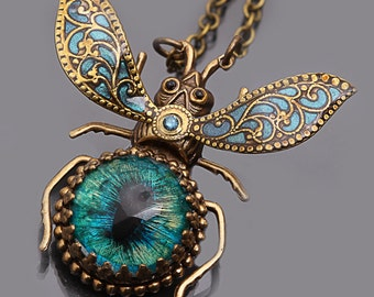 Steampunk Necklace Beetle Necklace Bug Necklace