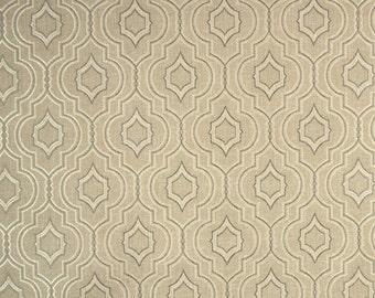 Danzig Linen Contemporary Geomtric Grey Trellis Fabric