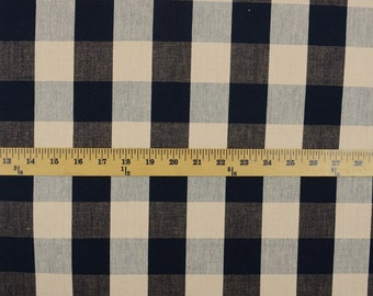 DL07 Lyme Black Natural Check Plaid Fabric