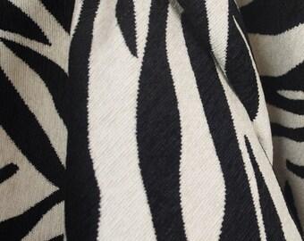Black White Zebra Tiger Upholstery Fabric