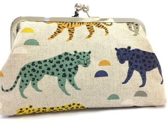 clutch purse - leaping leopards (blue-green) - 8 inch metal frame clutch purse - large purse- leopard- tigers - geometric- natural linen - c
