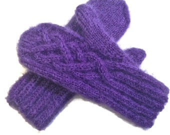 Wool Mittens Knitted Purple Mohair Celtic Cable One Size Women's Mittens Fuzzy Mittens Hand Knitted