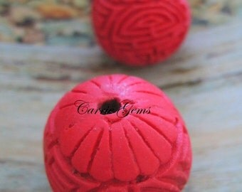 20% OFF ON SALE Red Cinnabar Carved Beads,Round 25mm , 2 pcs