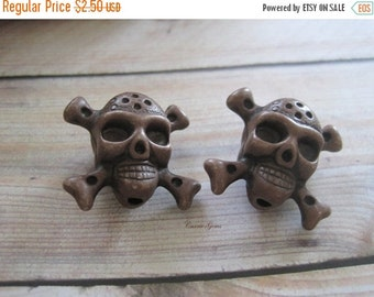20% OFF ON SALE Brown Risin Skull 25mmx23mm Beads, 6 pcs