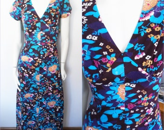 Vtg.70s Purple Turquoise Floral Print Open Back Maxi Dress.Small.Bust 36.Waist 28.