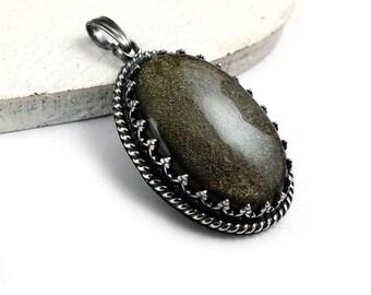 Silver pendant, retro oval pendant, metalwork jewelry, gold obsidian romantic jewelry