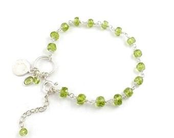 Green olivine bracelet, silver gemstone bracelet, romantic retro bracelet