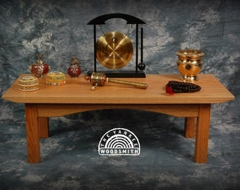 Oak puja table for your daily meditation made in the USA by The Yankee Woodsmith
