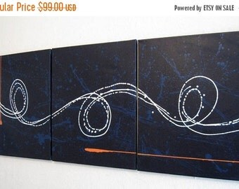 """triptych painting original abstract wall art wall hanging """"Big Blue"""" 27 x 12 """" canvas art 3 panel art three panel contemporary office art"""