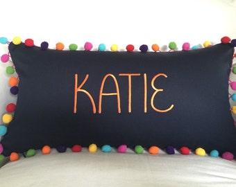 Monogrammed Rainbow Pom Pom Pillow Cover