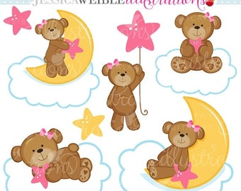 SALE Dreaming Girl Bears Cute Digital Clipart for Commercial or Personal Use, Nursery Clipart, Bears on Clouds, Girl Bears Clipart