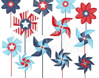 SALE Patriotic Pinwheels Cute Clipart for Card Design, Scrapbooking, Pinwheel clip art, patriotic graphics, pinwheel clipart
