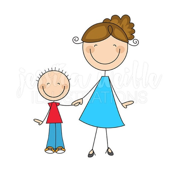 Mom and Son Stick Figures Cute Digital Clipart by JWIllustrations