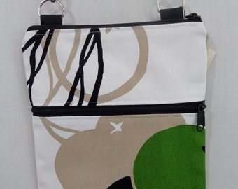 Zippered Cross Body BAG, Small Shoulder Purse, Travel Purse, Sling BAG,  IKEA, White, Tan, Green, Black