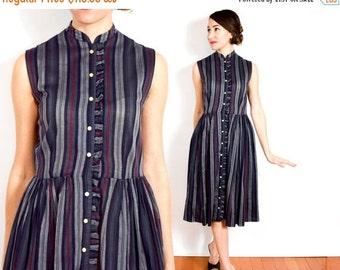 SummerS SALE 50s Striped Cotton Dress | Dark Grey Sleeveless Cotton Day Dress, Small