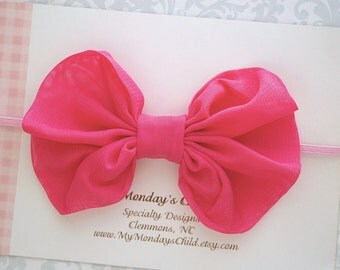 Hot Pink Baby Bow, Hot Pink Bow Headband, Hot Pink Bow, Baby Bows, Baby Bow Headband, Baby Headband, Toddler Headband, Toddler Bow Girls Bow
