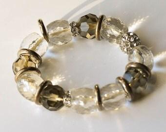 Crystal Bracelet Chunky Crystal and Rhinestone Bracelet