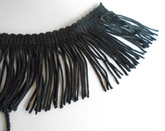 2 inch Black Eyelash Fringe Trim for pillows, garments, sewing creations. Onso Princess Collection