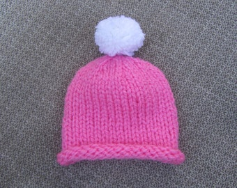 Knitted Baby Hat - Pink with White Pom Pom Baby Hat