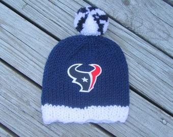 HOUSTON TEXANS Baby Hat, Knit Baby Hat, Texans Hat, Houston Baby Hat, Hand Knitted Baby Hat, Baby Hat, Football Hat, Knitted Baby Hat