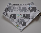 Gender Neutral Bandana Terry Cloth Snap Bib in Grey Organic Elephants Small Size 0-6 months