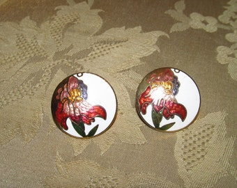 Round Cloisonné Gladiola Design Gold-tone Metal Post Earrings
