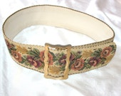 1980s Wide Floral Tapestry Belt by Axcess/Made in Italy