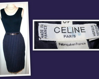 Celine Paris Vintage Navy/Red/White Wool Straight Skirt