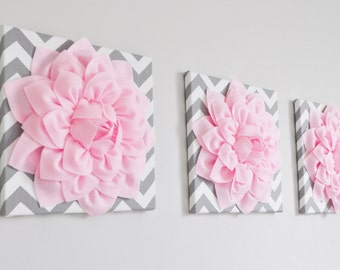 "Floral Wall Art -SET OF THREE Light Pink Dahlia on Gray and White Chevron 12 x12"" Canvas Wall Art- 3D Felt Flower"