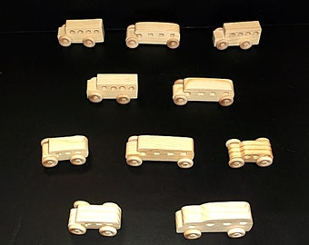 10 Handcrafted Wood Toy School Buses  OT-30  unfinished or finished