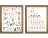 Animal Alphabet and Numbers Poster Set - Watercolor Animals 11 x 14 wall art - nursery art – ABC nursery art - ABCs