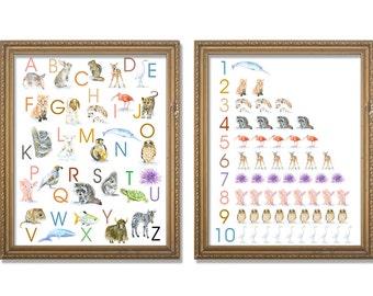 Animal Alphabet and Numbers Poster Set - Watercolor Animals 11 x 14 wall art - nursery art – ABC nursery art - ABCs