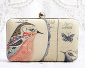 Bird & Butterfly Box Clutch Retro Vintage Mori Girl Hand Dyed Red Tan Beige Blue Linen Prom Party Purse Little Shoulder Bag Chain Minaudiere