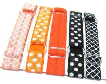 Set of 5 - Orange & Black Adjustable Elastic Headband, Hair Band, Girl, Baby Headband, Toddler Headband, Woman Headband, Sport Headband