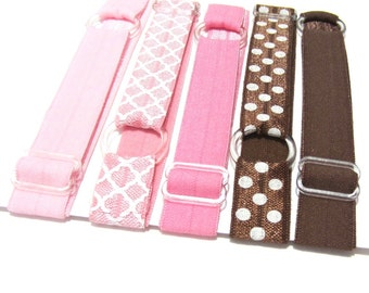 Set of 5 - Pink & Brown, Preppy, Neopolitan Adjustable Elastic Headband, Hair Band, Girl, Baby, Woman Headband, Sport Headband