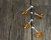 Amber tears - sterling silver ear studs